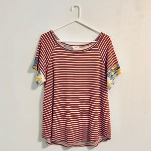 Striped tee with floral sleeves/back panel detail